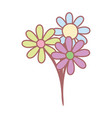 bunch flowers botanical decoration cute vector image
