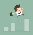 businessman jump through the gap in growth chart vector image vector image