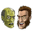 cartoon funny green zombie monster and werewolf vector image vector image