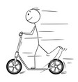 cartoon of man or boy riding the scooter vector image vector image