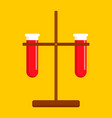 chemistry test tube icon flat style vector image