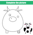 children educational game complete the picture vector image vector image