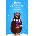 christmas new year greeting card of cartoon bear vector image