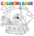 coloring book boat with pirate monkey vector image vector image