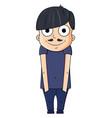 cute cartoon young man with happy emotions vector image vector image