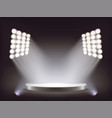 empty round white podium illuminated by spotlights vector image