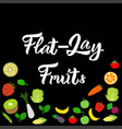 flat-lay healthy mix fruits on black background vector image