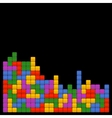 Game Brick Tetris Template on Black Background vector image