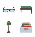 glasses a wooden table a floor lamp a box with vector image