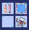 hand drawn makeup products vector image vector image