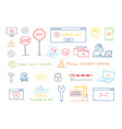 hand drawn set 404 system error page not found vector image vector image