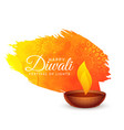 happy diwali festival background with paint stroke vector image vector image