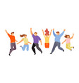 happy jumping people vector image vector image