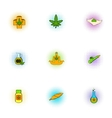 Hemp icons set pop-art style vector image vector image