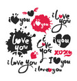 i love you red and black calligraphy lettering set vector image