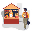 market bread stall bakery products vendor and vector image