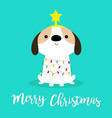 merry christmas dog fir tree shape garland lights vector image