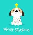 merry christmas dog fir tree shape garland lights vector image