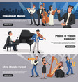 musician banner set vector image vector image