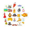 nooning icons set cartoon style vector image vector image