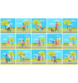 person in urban park walking man and woman vector image vector image