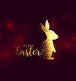 rabbit made with sparkles happy easter background vector image
