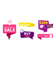 sale banners welcome discount stickers with like vector image