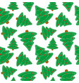 seamless pattern of christmas tree merry vector image vector image