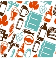 Seamless pattern with beer icons and objects vector image vector image