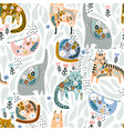 seamless pattern with cute colorful elephant vector image