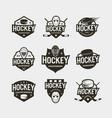 set hockey logos sport emblems vector image vector image