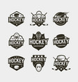 set of hockey logos sport emblems vector image vector image
