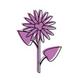 single flower with stem and leaves icon imag vector image