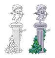 statue cupid archer standing on a column vector image