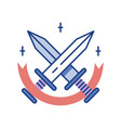 swords line color icon vector image