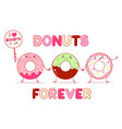 three cute donut in kawaii style vector image vector image