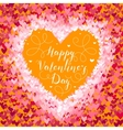 Valentines Day greeting in frame of red hearts on vector image vector image