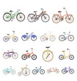 various bicycles cartoon icons in set collection vector image vector image