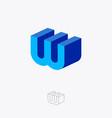 w monogram 3d construction emblem building vector image vector image