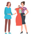 woman at shop asking advice consultant vector image vector image