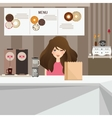 woman female customer smile in cafe with donuts vector image vector image