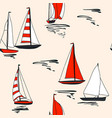yacht in sea seamless pattern design red vector image