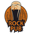 banner for rock pub with glass of beer and barrel vector image