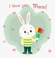 a boy hare in clothes holds three tulips mother s vector image vector image