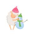 adorable fluffy sheep standing near little snowman vector image vector image