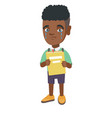african upset boy with book shedding tears vector image vector image