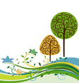 backdrop with swirly trees vector vector image vector image