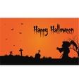 Bakcgrounds warlock and bat in tomb Halloween vector image vector image