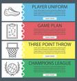 basketball banner templates set vector image