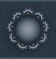 blue denim circle with lace vector image vector image